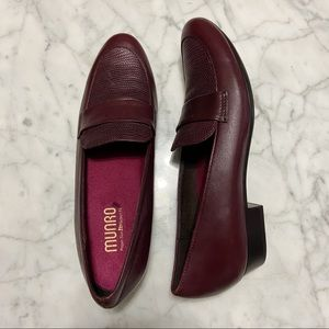Munro Kiera Burgundy Leather Comfort Loafer Shoes